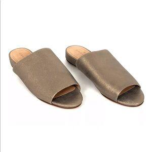New Caslon Kiana Metallic Leather Slides, Sz 9